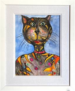 """Penny Johns """"The Mouse Whisperer"""" Signed Watercolor"""