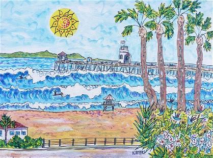 "Kimm Byers ""Huntington Beach"" Original Acrylic"