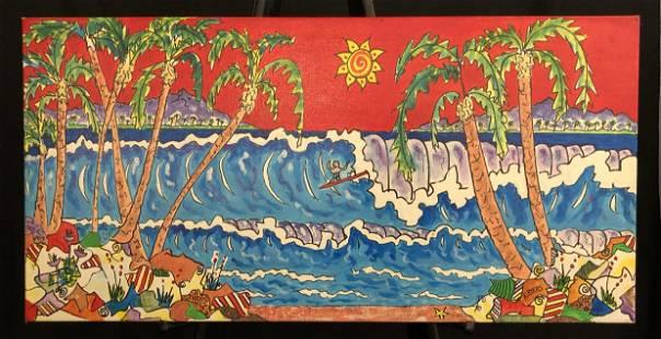 "Kimm Byers ""Surfing Hawaii II"" Signed Original Acrylic"