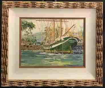 "Jerome Fisher Maui ""The Carthaginian"" Ship Watercolor"