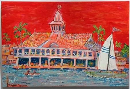 """Kimm Byers """"Pavilion Newport Beach"""" Abstract Signed"""