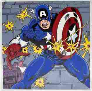 Captain America by Steve Kaufman Signed by Stan Lee