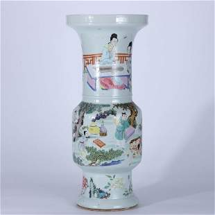 Famille Rose Figure Story Vase, Qing Dynasty