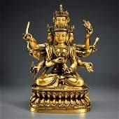 A Gilt-bronze Multi Hands Bodhisattva