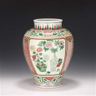 A Famille Verte Floral Jar