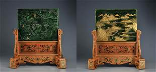 A Carved Spinach Green Jade Table Screen Qing Dynasty