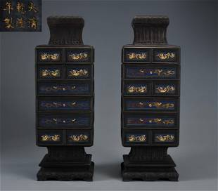 Pair Carved Rosewood Food Cabinets Qing Dynasty