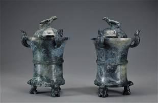 Pair Carved Jade Censers Han Dynasty