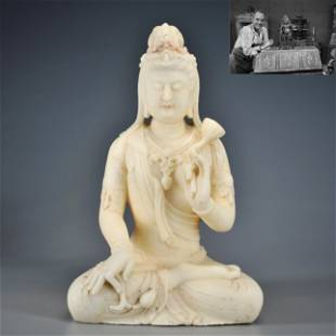 A Carved Marble Seated Guanyin Qing Dynasty or Before