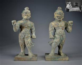 Pair Carved Bronze Guardians Han Dynasty or Later