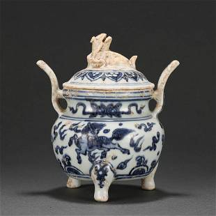 A Blue and White Beast Tripod Censer Qing Dynasty