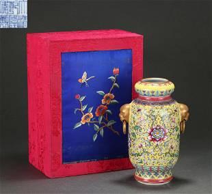 A Famille Rose Floral Vase Qing Dynasty