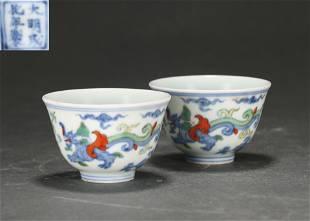 A Doucai Glazed Floral Cups Qing Dynasty