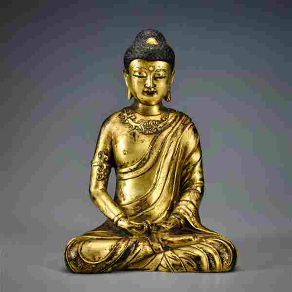 A Gilt-bronze Seated Buddha Qing Dynasty