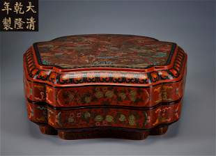 A Polychrome Lacquer Dragon Box Qing Dynasty