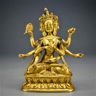 A Tibetan Gilt-bronze Seated Buddha
