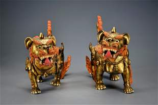 Pair Gilt-bronze Fo Dogs Qing Dynasty