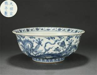 A Blue and White Dragon Bowl Qing Dynasty
