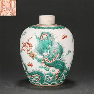 A Red and Green Enameled Dragon Jar Qing Dynasty