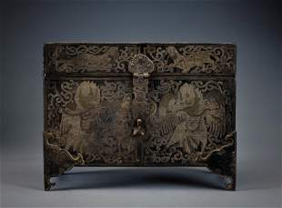 A Silver Inlaid Bronze Cabinet Qing Dynasty