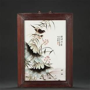 A Famille Rose Lotus Porcelain Panel Qing Dynasty