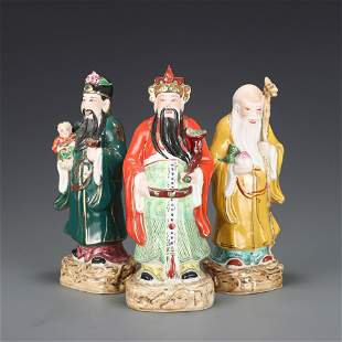 A Group of Three Famille Rose Porcelain Immortals Qing