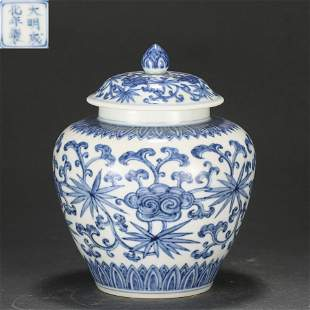 A Blue and White Ginger Jar with Cover Qing Dynasty