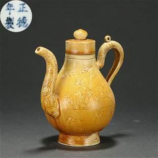 An Incised Yellow Glazed Dragon Ewer Ming Dynasty