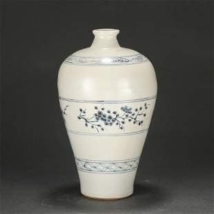 A Blue and White Floral Vase Meiping Ming Dynasty