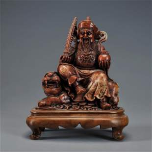 A Carved Soaptone Seated Figure Qing Dynasty