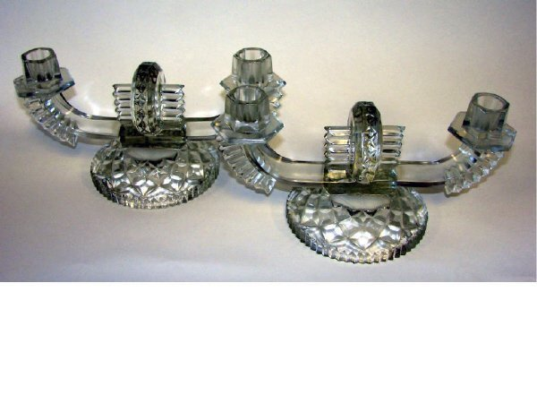 6: Pair (2) Of French Deco Pressed Glass Candelabra.