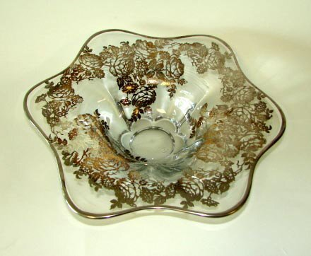 13: Silver Deposit and Glass Fruit Bowl, 20th C.