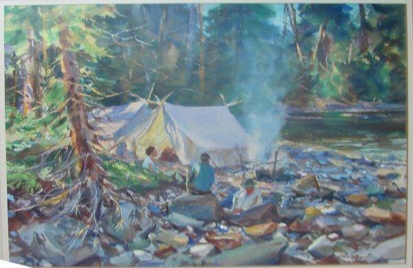 """94: John Whorf Watercolor, """"River Camp"""",  1959."""