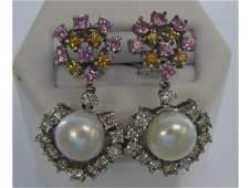 109 Ladies 18K W  Sapphire and Pearl Drop Earrings