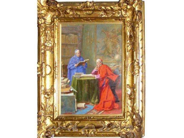 141: Oil Painting, The Cardinal, G. Moretti, Roma.