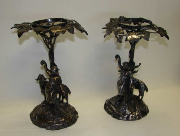 1: Pair (2) Silver Plated Figural Stands, 19th C.