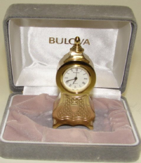 9: Bulova Miniature Shelf Clock.
