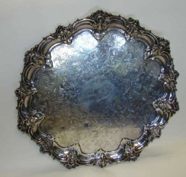 13A: English 19th C. Silver Plate Footed Tray.