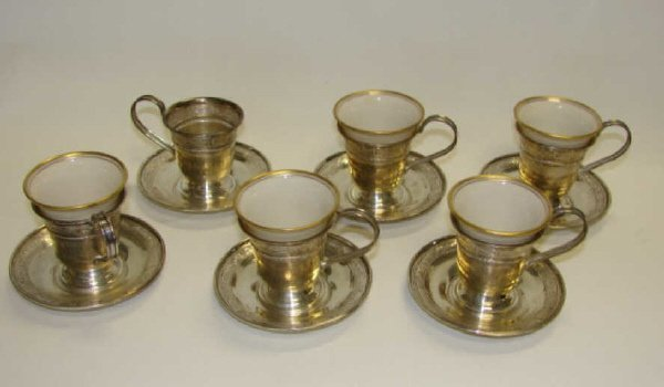 14: Lenox and Sterling Demitasse set. 5 Pieces.