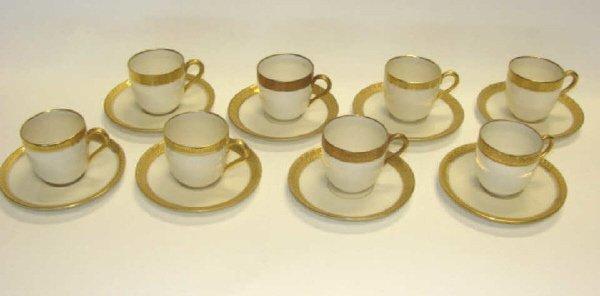 15: Set of 8 Black Knight Porcelain  cups/saucers.