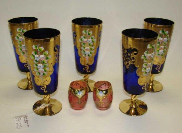 18: Group of 7 Venetian Murano Glass Wines. 5 and 2.