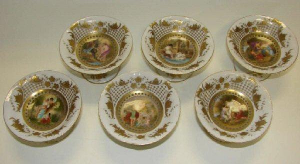 20: Set of 6 Austrian Porcelain Ice Cream Dishes.