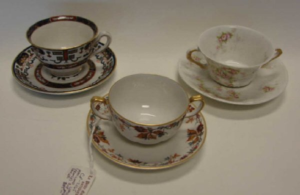 21: Three Assorted Tea/soup Cups and Saucers.