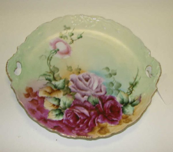 22: Hand Painted Serving Plate, American, C. 1900.