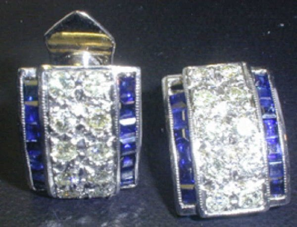 141: 14KW Sapphire and Diamond Fashion Earrings.