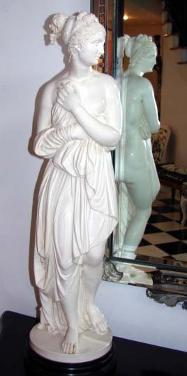 3: Cast Marble Sculpture of Grecian Lady, 20th C.
