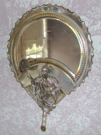 8: Oriental Style Silver Plated Looking Glass.