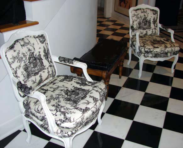11: Pair (2)  White Lacquered Open Arm Chairs.
