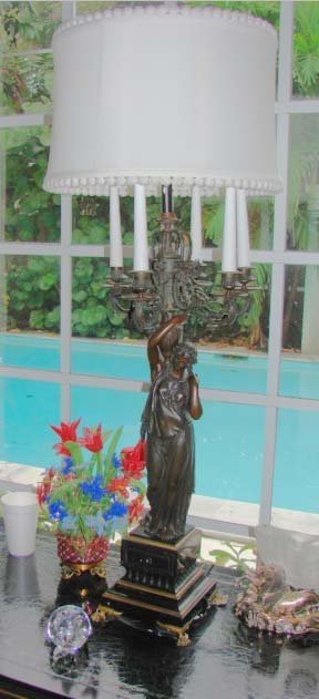 23: Empire Style Grecian Figural  Candelabrum Lamp.