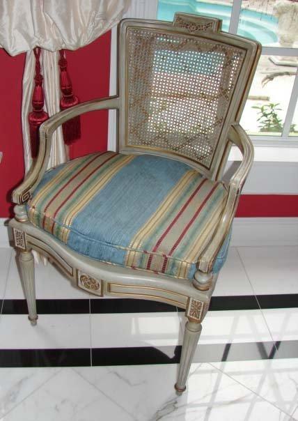 25: Pair Louis XVI Style Open Arm Chairs.